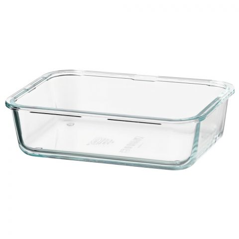 IKEA Fortrolig Food Container, Rectangular, Glass, 1 Liter, 70359199