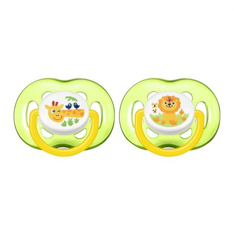 Avent Free Flow Soothers, 2-Pack, 18m+, Green, Lion/Giraffe, SCF186/23