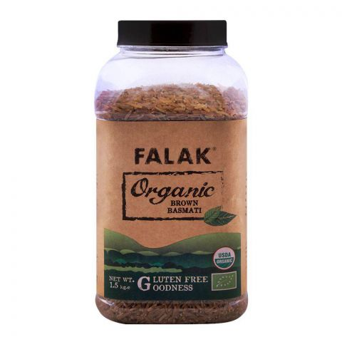 Falak Organic Brown Basmati Rice 1.5 KG Jar
