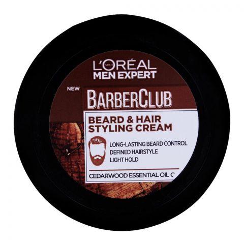 L'Oreal Paris Men Expert Barber Club Beard & Hair Styling Cream, Cedarwood Essential Oil, 75ml