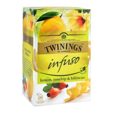 Twinings Infuso Lemon, Rosehip & Hibiscus Tea Bags, 20-Pack