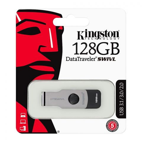 Kingston 128GB Data Traveler Swivl USB Drive, USB 3.1/3.0/2.0