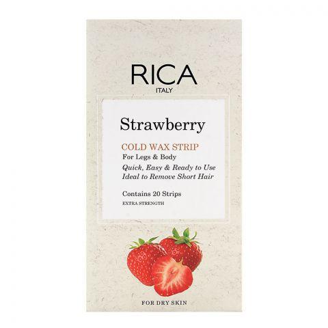 RICA Strawberry Legs & Body Dry Skin Cold Wax Strip 20-Pack
