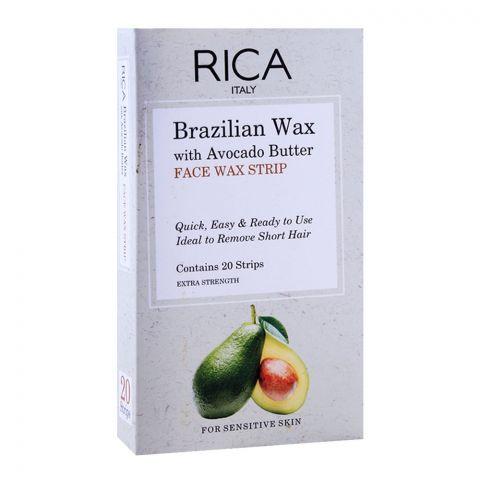 Rica Brazilian Wax, With Avocado Butter, Face Wax Strip, 20-Pack, For Sensitive Skin