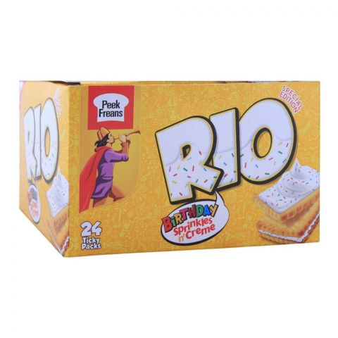 Peek Freans Rio Birthday Sprinkles Creme Biscuit, 24 Ticky Packs
