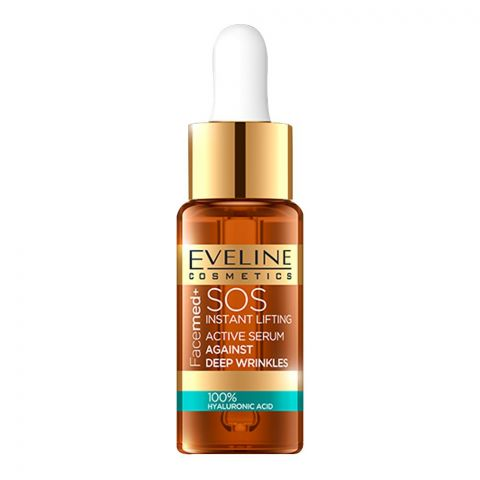 Eveline Facemed+ SOS Instant Lifting Active Serum, Against Wrinkles, 100% Hyaluronic Acid, 18ml