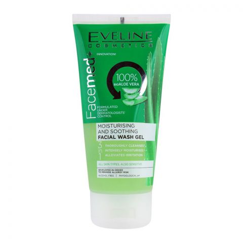 Eveline 3-In-1 Facemed 100% Bio Aloe Vera Moisturising And Soothing Facial Wash Gel, Alcohol Free, All Skin Types, 150ml