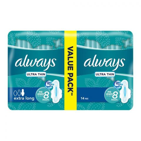 Always Ultra Extra Long Gel Core Pads, 14 Pads Value Pack