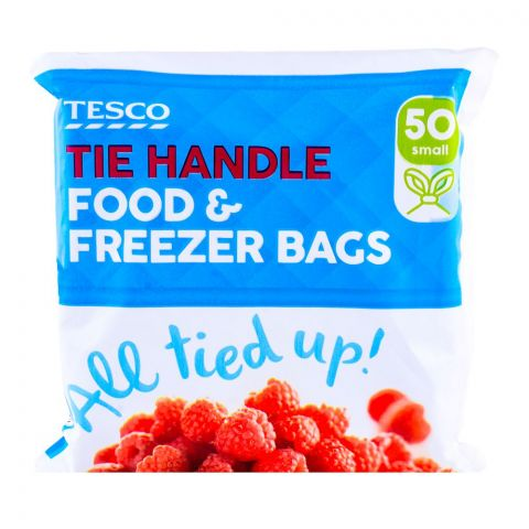 Tesco Tie Handle Food & Freezer Bags Small 50-Pack