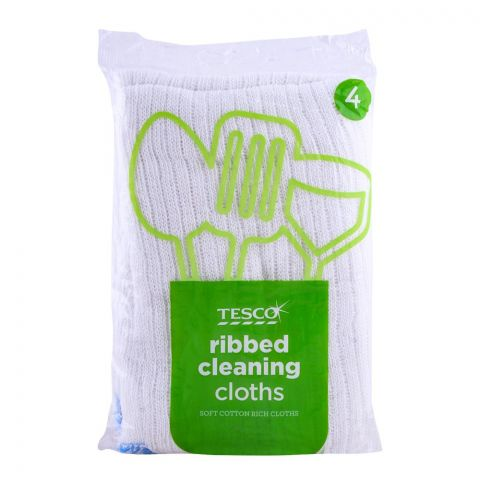 Tesco Ribbed Cleaning Cloths 4-Pack