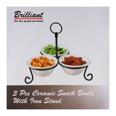 Brilliant Ceramic Snack Bowl With Iron Stand 3Pcs BR-185