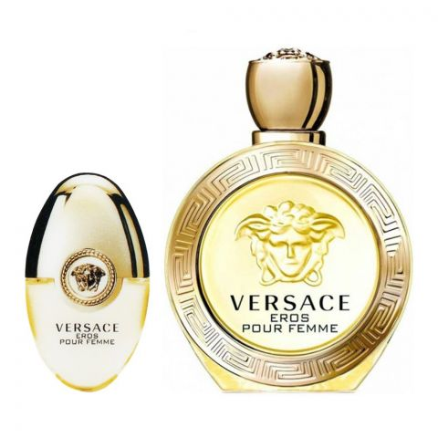 Versace Eros Pour Femme Perfume Set, For Women, EDP 100ml + EDP 10ml + Pouch