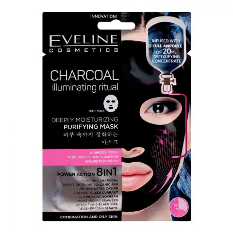 Eveline Charcoal Power Action 8-In-1 Deeply Moisturizing Purifying Mask