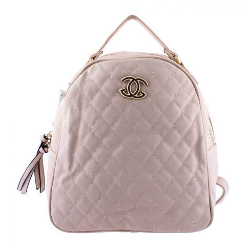 Chanel Style Women Backpack Beige - 8804-1