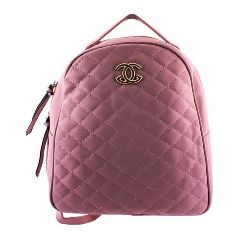 Chanel Style Women Backpack Pink - 8804-1