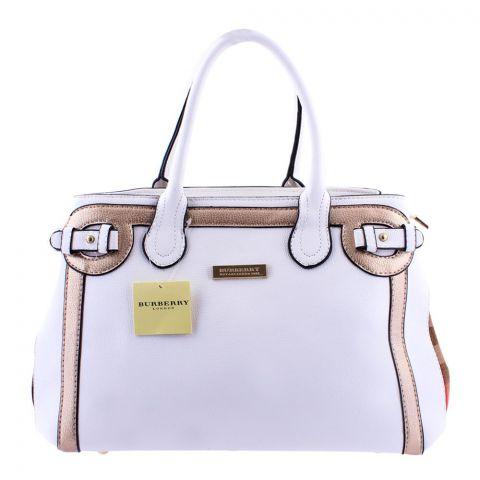 Burberry Style Women Handbag White - 8829