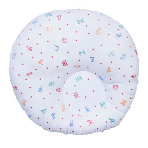 Angel's Kiss Round Baby Pillow, White