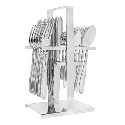 Elegant Exclusive Laser Stainless Steel Cutlery Set, 24 Pieces, DD0008S