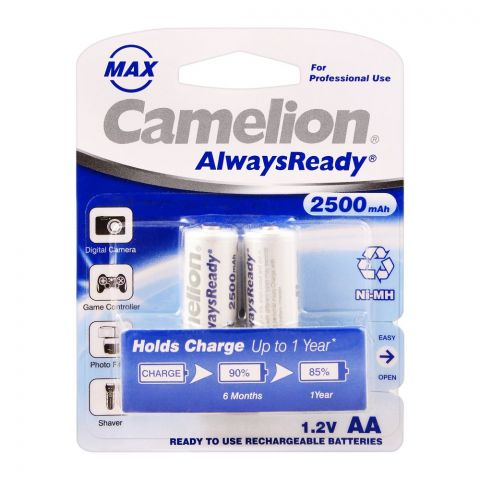 Camelion AlwaysReady NiMH AA 2500mAH Rechargeable Battery, 2-Pack, NH-AA2500ARBP2