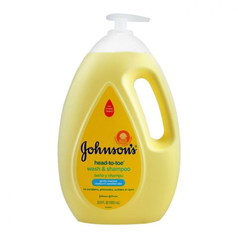 Johnson's Head-To-Toe Wash & Shampoo, Newborn, Paraben & Sulfate Free, 1000ml