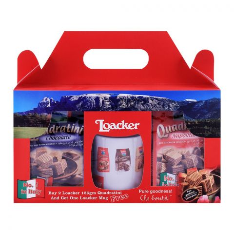 Loacker Quadratini Gift Combo Pack - Free Mug,  2x125g