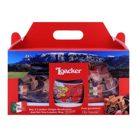 Loacker Quadratini Gift Combo Pack - Free Mug,  2x250g