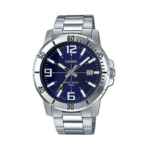 Casio Men's Enticer Analog Blue Dial Casual Watch, Stainless Steel Band, MTP-VD01D-2BVUDF