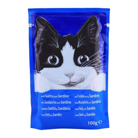 Felix With Cat Saithe & Sardine Cat Food, Pouch, 100g