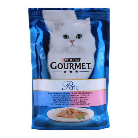 Gourmet Perle With Plaice Shrimp, Cat Food Pouch, 85g