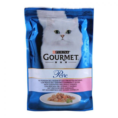 Gourmet Perle With Ocean Fish Shrimp, Cat Food Pouch, 85g
