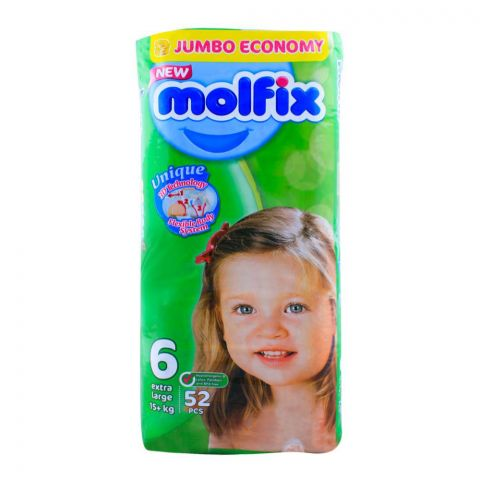Molfix No. 6, Extra Large (XL) 15+ KG, 52-Pack