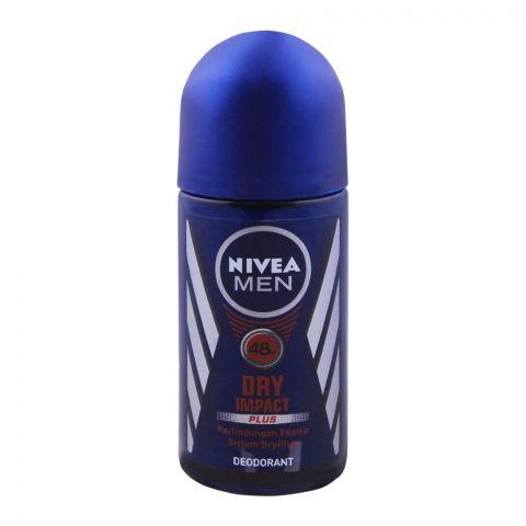 Nivea Men 48H Dry Impact Plus Roll On Deodorant, 50ml