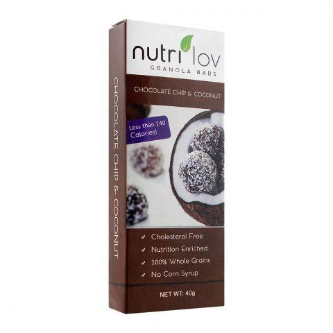 Nutri Lov Granola Bars, Chocolate Chip & Coconut, 45g