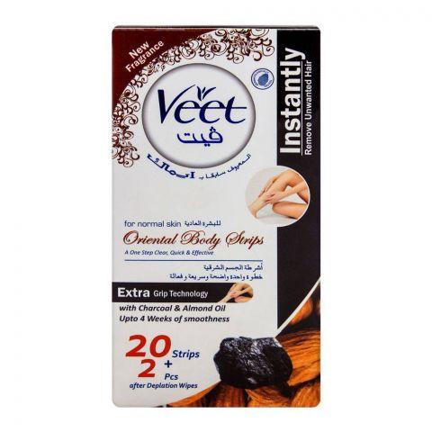 Veet Oriental Body Strips, Normal Skin, Charcoal & Almond Oil, 20-Pack