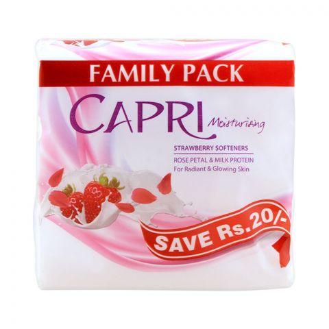 Capri Moisturising Strawberry Softeners Soap, Saving Pack 3x140g