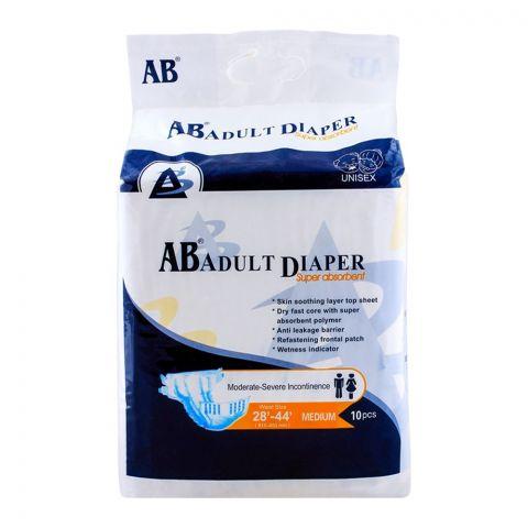 AB Adult Diaper, 28'-44' Waist, Medium, 10-Pack