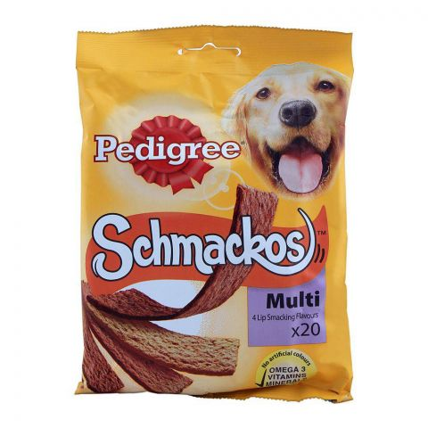 Pedigree Schmackos Dog Treats, Multi Flavored, 20-Pack, 172g