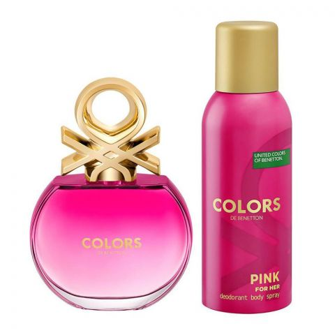 United Colors Of Benetton Pink For Her Set Eau De Toilette 80ml + Deodorant, For Women, 150ml