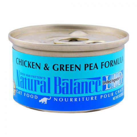 Natural Balance Chicken & Green Pea Cat Food, Tin, 85g