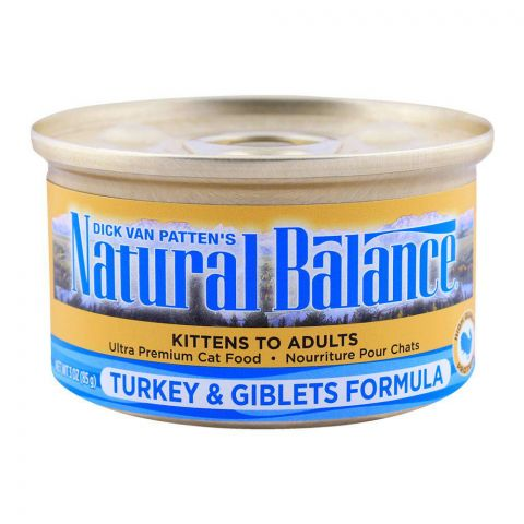 Natural Balance Kitten To Adult Turkey & Giblets Cat Food, Tin, 85g