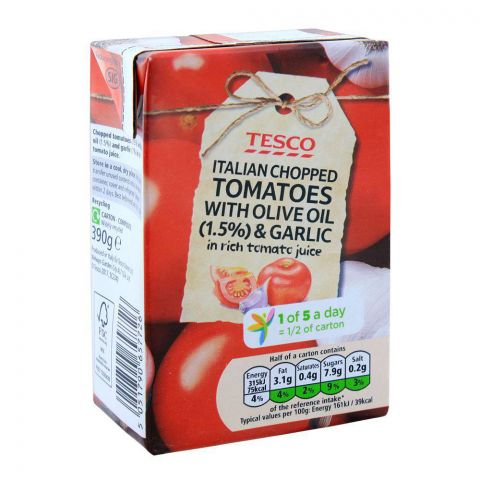 Tesco Italian Chopped Tomatoes With Olive Oil & Garlic 390g