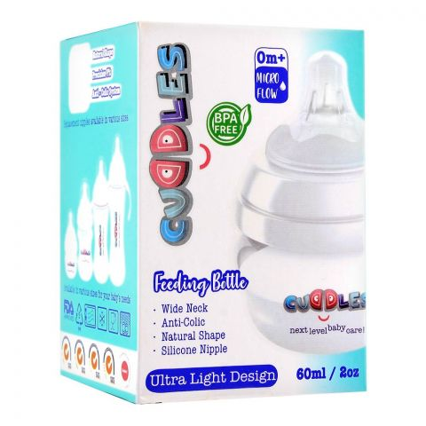 Cuddles Anti-Colic Ultra Light Design Wide Neck Feeding Bottle, 0m+, Micro Flow, 60ml