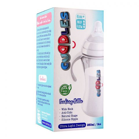 Cuddles Anti-Colic Ultra Light Design Wide Neck Feeding Bottle, 6m+, Medium Flow, 260ml