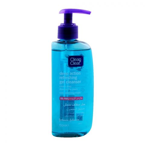 Clean & Clear Deep Action Refreshing Gel Facial Cleanser, Oil Free, 150ml