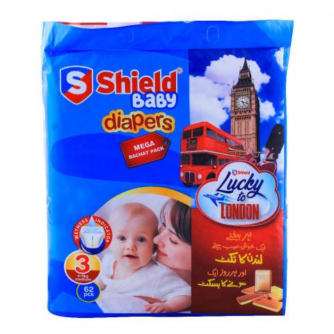 Shield Baby Diapers No. 3, 4-9kg Medium, 62-Pack