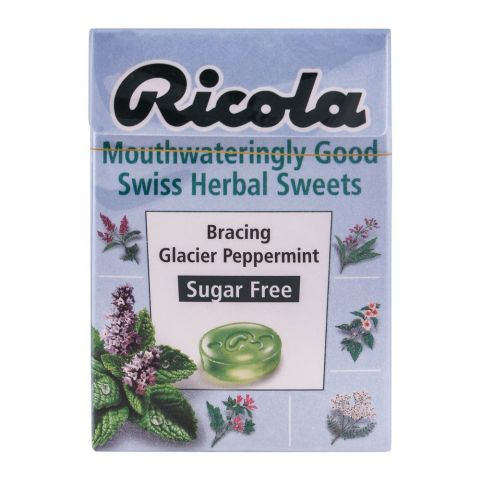 Ricola Bracing Glacier Peppermint Sugar Free Swiss Herbal Drops, 45g