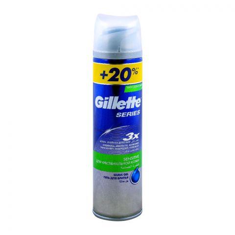 Gillette Series 3X Sensitive Skin Shave Gel +20% Extra 240ml