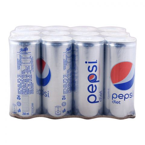 Pepsi Diet Can (Local) 250ml, 12 Pieces