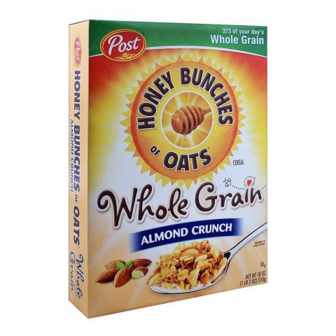 Post Whole Grain Almond Crunch Honey Bunches of Oats Cereal 510g