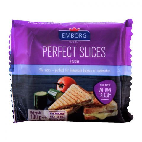 Emborg Perfect Cheese Slices, 6 Pieces, Mild Taste, 100g